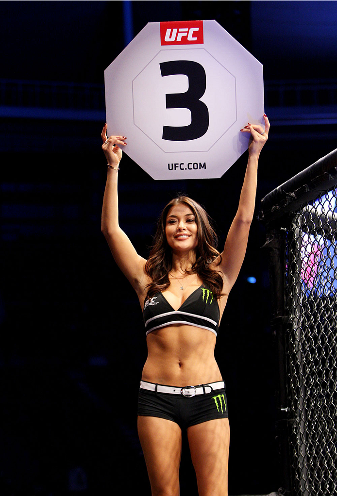 SEOUL, SOUTH KOREA - NOVEMBER 28:  UFC Octagon girl Arianny Celeste in between rounds during the UFC Fight Night at the Olympic Park Gymnastics Arena on November 28, 2015 in Seoul, South Korea. (Photo by Mitch Viquez/Zuffa LLC/Zuffa LLC via Getty Images)