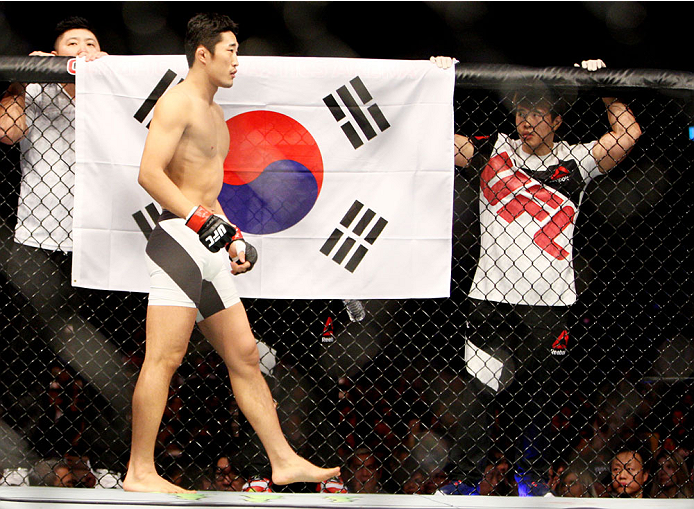 SEOUL, SOUTH KOREA - NOVEMBER 28:  Dong Hyun Kim of South Korea before his  welterweight bout  with Dominic Waters of the United States of America during the UFC Fight Night at the Olympic Park Gymnastics Arena on November 28, 2015 in Seoul, South Korea.