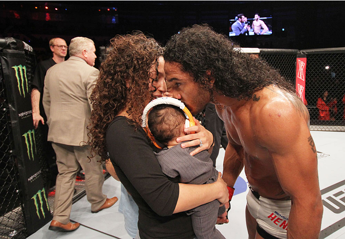 SEOUL, SOUTH KOREA - NOVEMBER 28:  Benson Henderson of the United States of America celebrates with his family after his win over Jorge Masvidal of the United States of America in their welterweight bout during the UFC Fight Night at the Olympic Park Gymn