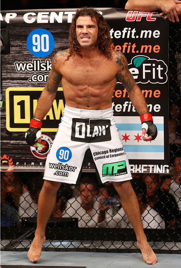 SAN JOSE, CA - JULY 26:  Clay Guida stands in the Octagon before his featherweight bout against Dennis Bermudez during the UFC Fight Night event at SAP Center on July 26, 2014 in San Jose, California.  (Photo by Josh Hedges/Zuffa LLC/Zuffa LLC via Getty I