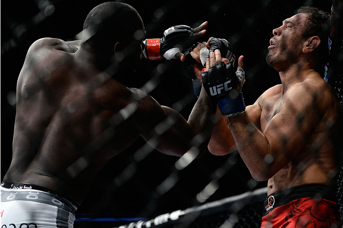 SAN JOSE, CA - JULY 26: (L-R) Anthony ''Rumble'' Johnson punches Antonio Rogerio Nogueira in their light heavyweight bout during the UFC Fight Night event at the SAP Center on July 26, 2014 in San Jose, California. (Photo by Jeff Bottari/Zuffa LLC/Zuffa L