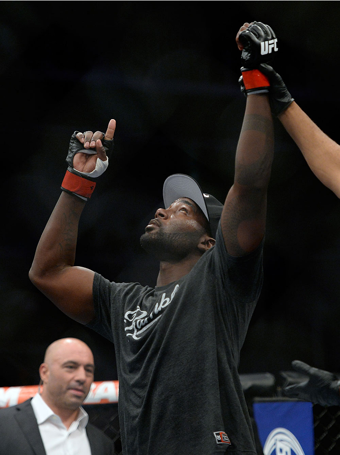 SAN JOSE, CA - JULY 26: Anthony ''Rumble'' Johnson celebrates after defeating Antonio Rogerio Nogueira in their light heavyweight bout during the UFC Fight Night event at the SAP Center on July 26, 2014 in San Jose, California. (Photo by Jeff Bottari/Zuff