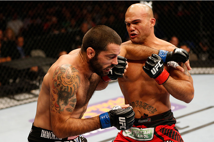 SAN JOSE, CA - JULY 26:  (R-L) Robbie Lawler punches Matt Brown in their welterweight bout during the UFC Fight Night event at SAP Center on July 26, 2014 in San Jose, California.  (Photo by Josh Hedges/Zuffa LLC/Zuffa LLC via Getty Images)