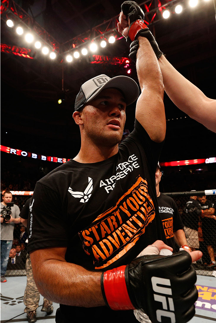 SAN JOSE, CA - JULY 26:  Robbie Lawler celebrates after his unanimous-decision victory over Matt Brown in their welterweight bout during the UFC Fight Night event at SAP Center on July 26, 2014 in San Jose, California.  (Photo by Josh Hedges/Zuffa LLC/Zuf