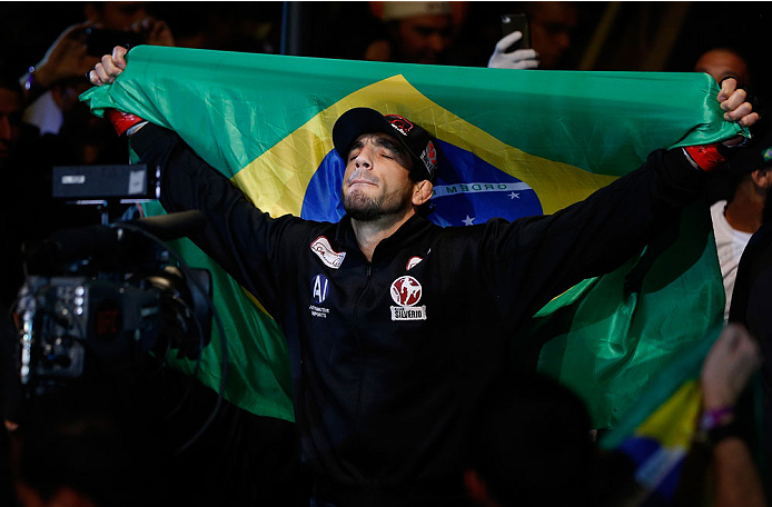 SAO PAULO, BRAZIL - MAY 31: Elias Silverio enters the arena before his lightweight fight against Ernest Chavez during the UFC Fight Night event at the Ginasio do Ibirapuera on May 31, 2014 in Sao Paulo, Brazil. (Photo by Josh Hedges/Zuffa LLC/Zuffa LLC vi