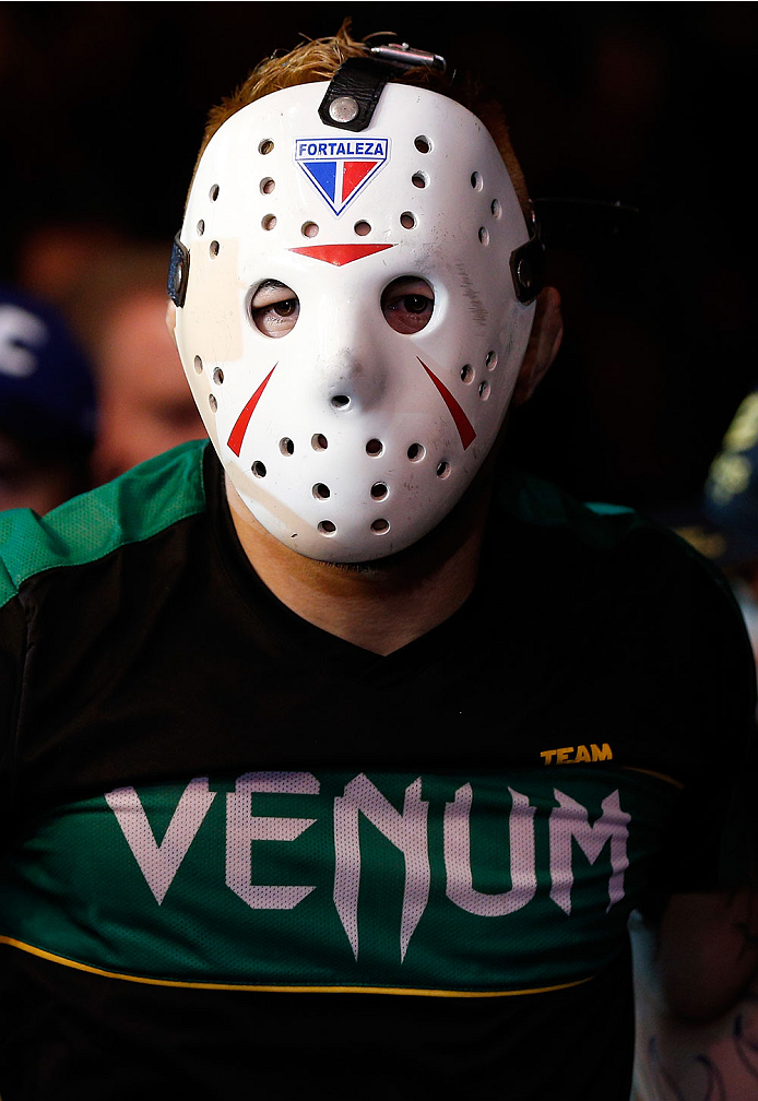 """SAO PAULO, BRAZIL - MAY 31: Rony """"Jason"""" Mariano-Bazzera enters the arena before his featherweight fight against Robbie Peralta during the UFC Fight Night event at the Ginasio do Ibirapuera on May 31, 2014 in Sao Paulo, Brazil. (Photo by Josh Hedges/Zuffa"""