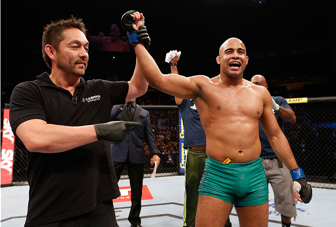 SAO PAULO, BRAZIL - MAY 31:  Warlley Alves reacts after his submission victory over Marcio Alexandre in their middleweight fight during the UFC Fight Night event at the Ginasio do Ibirapuera on May 31, 2014 in Sao Paulo, Brazil. (Photo by Josh Hedges/Zuff