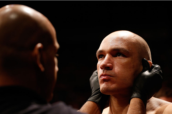 SAO PAULO, BRAZIL - MAY 31:  Vitor Miranda prepares to enter the Octagon before his heavyweight fight against Antonio Carlos Junior during the UFC Fight Night event at the Ginasio do Ibirapuera on May 31, 2014 in Sao Paulo, Brazil. (Photo by Josh Hedges/Z