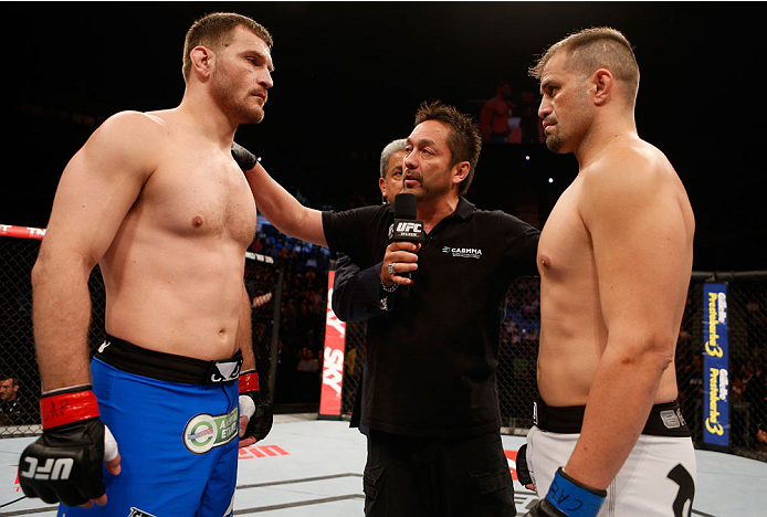 SAO PAULO, BRAZIL - MAY 31:  (L-R) Opponents Stipe Miocic and Fabio Maldonado face off before their heavyweight fight during the UFC Fight Night event at the Ginasio do Ibirapuera on May 31, 2014 in Sao Paulo, Brazil. (Photo by Josh Hedges/Zuffa LLC/Zuffa
