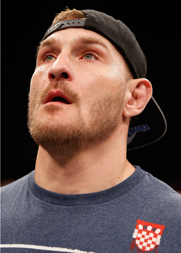 SAO PAULO, BRAZIL - MAY 31: Stipe Miocic reacts after his knockout victory over Fabio Maldonado in their heavyweight fight during the UFC Fight Night event at the Ginasio do Ibirapuera on May 31, 2014 in Sao Paulo, Brazil. (Photo by Josh Hedges/Zuffa LLC/