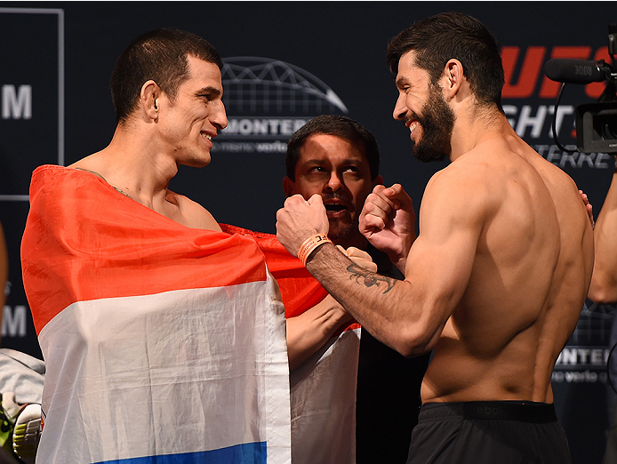 MONTERREY, MEXICO - NOVEMBER 20:  (L-R) Opponents Cesar Arzamendia of Paraguay and Polo Reyes of Mexico face off during the UFC weigh-in at the Arena Monterrey on November 20, 2015 in Monterrey, Mexico. (Photo by Jeff Bottari/Zuffa LLC/Zuffa LLC via Getty