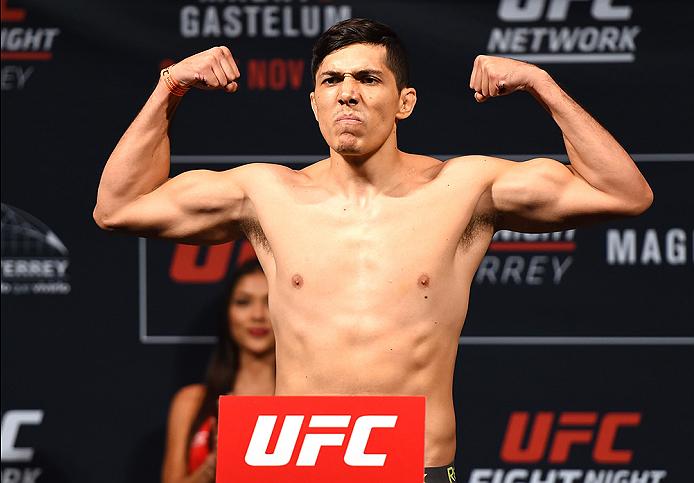 MONTERREY, MEXICO - NOVEMBER 20:  Alvaro Herrera of Mexico weighs in during the UFC weigh-in at the Arena Monterrey on November 20, 2015 in Monterrey, Mexico. (Photo by Jeff Bottari/Zuffa LLC/Zuffa LLC via Getty Images)