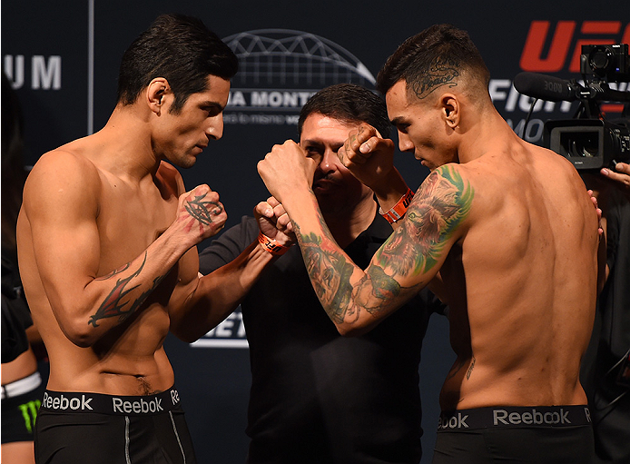 MONTERREY, MEXICO - NOVEMBER 20:  (L-R) Opponents Gabriel Benitez of Mexico and Andre Fili of the United States face off during the UFC weigh-in at the Arena Monterrey on November 20, 2015 in Monterrey, Mexico. (Photo by Jeff Bottari/Zuffa LLC/Zuffa LLC v