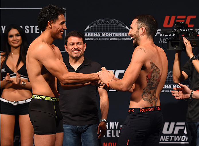 MONTERREY, MEXICO - NOVEMBER 20:  (L-R) Opponents  Erick Montano of Mexico and Enrique Marin of Spain face off during the UFC weigh-in at the Arena Monterrey on November 20, 2015 in Monterrey, Mexico. (Photo by Jeff Bottari/Zuffa LLC/Zuffa LLC via Getty I