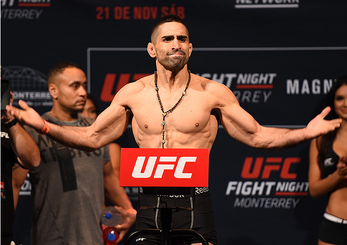 MONTERREY, MEXICO - NOVEMBER 20:  Ricardo Lamas of the United States weighs in during the UFC weigh-in at the Arena Monterrey on November 20, 2015 in Monterrey, Mexico. (Photo by Jeff Bottari/Zuffa LLC/Zuffa LLC via Getty Images)