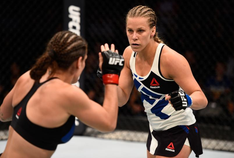SIOUX FALLS, SD - JULY 13:   (R-L) Katlyn Chookagian circles Lauren Murphy in their women's bantamweight bout during the UFC Fight Night event on July 13, 2016 at Denny Sanford Premier Center in Sioux Falls, South Dakota. (Photo by Jeff Bottari/Zuffa LLC via Getty Images)
