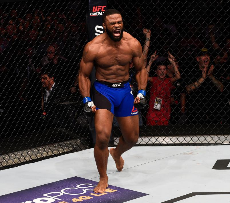 ATLANTA, GA - JULY 30: Tyron Woodley celebrates after knocking out Robbie Lawler in their welterweight championship bout during the UFC 201 event on July 30, 2016 at Philips Arena in Atlanta, Georgia. (Photo by Jeff Bottari/Zuffa LLC/Zuffa LLC via Getty Images)