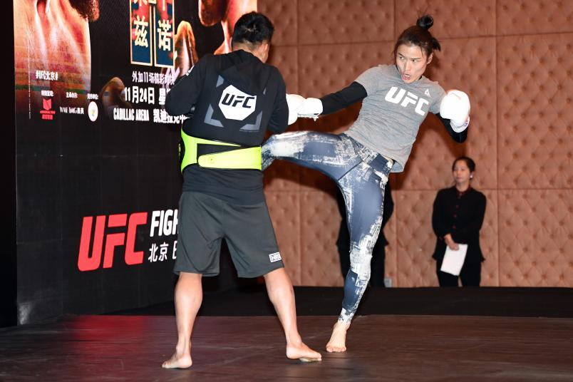 Weili Zhang interacts with media during the UFC Fight Night Ultimate Media Day on November 22, 2018 in Beijing, China. (Photo by Jeff Bottari/Zuffa LLC)