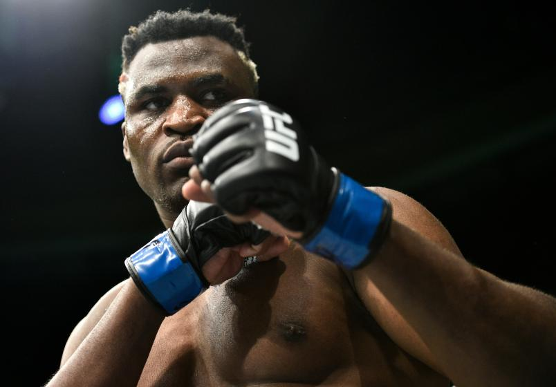 BOSTON, MA - JANUARY 20: Francis Ngannou of Cameroon enters the Octagon before facing Stipe Miocic in their heavyweight championship bout during the UFC 220 event at TD Garden on January 20, 2018 in Boston, Massachusetts. (Photo by Brandon Magnus/Zuffa LLC via Getty Images)