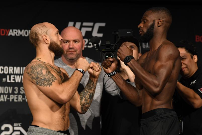 NEW YORK, NEW YORK - NOVEMBER 02: Opponents Brian Kelleher and Montel Jackson face off during the UFC 230 weigh-in inside Hulu Theater at Madison Square Garden on November 2, 2018 in New York, New York. (Photo by Jeff Bottari/Zuffa LLC/Zuffa LLC via Getty Images)