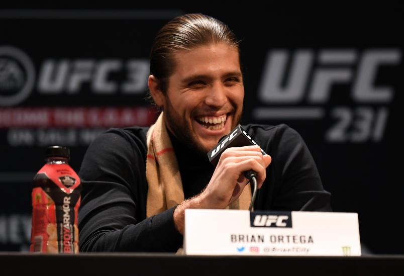 TORONTO, CANADA - DECEMBER 05: Brian Ortega interacts with fans and media during the UFC 231 Press Conference at the Winter Garden Theatre on December 5, 2018 in Toronto, Ontario, Canada. (Photo by Josh Hedges/Zuffa LLC/Zuffa LLC via Getty Images)