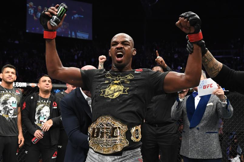 INGLEWOOD, CA - DECEMBER 29: Jon Jones celebrates his KO victory over Alexander Gustafsson of Sweden in their light heavyweight bout during the UFC 232 event inside The Forum on December 29, 2018 in Inglewood, California. (Photo by Josh Hedges/Zuffa LLC/Zuffa LLC via Getty Images)