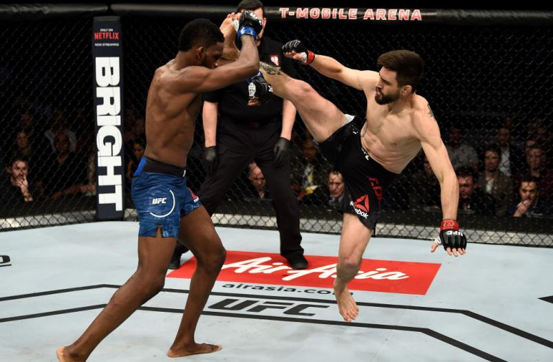 LAS VEGAS, NV - DECEMBER 30: (L-R) Neil Magny catches a kick of Carlos Condit and attempts a takedown in their welterweight bout during the UFC 219 event inside T-Mobile Arena on December 30, 2017 in Las Vegas, Nevada. (Photo by Jeff Bottari/Zuffa LLC/Zuffa LLC via Getty Images)