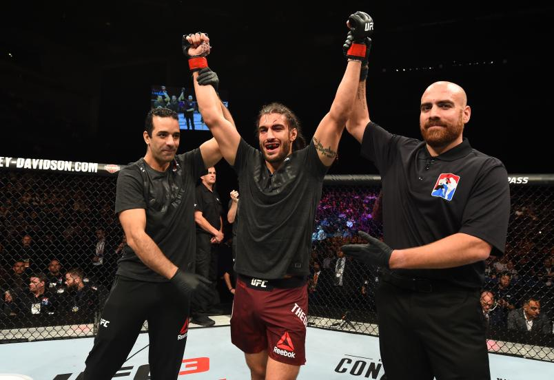 LIVERPOOL, ENGLAND - MAY 27: Elias Theodorou of Canada celebrates his victory over Trevor Smith in their middleweight bout during the UFC Fight Night event at ECHO Arena on May 27, 2018 in Liverpool, England. (Photo by Josh Hedges/Zuffa LLC/Zuffa LLC via Getty Images)