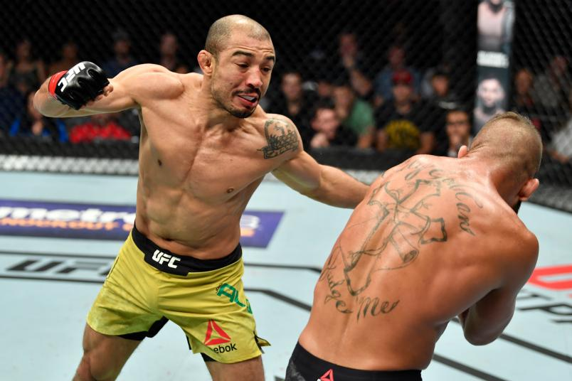 CALGARY, AB - JULY 28: (L-R) Jose Aldo of Brazil punches Jeremy Stephens in their featherweight bout during the UFC Fight Night event at Scotiabank Saddledome on July 28, 2018 in Calgary, Alberta, Canada. (Photo by Jeff Bottari/Zuffa LLC/Zuffa LLC via Getty Images)