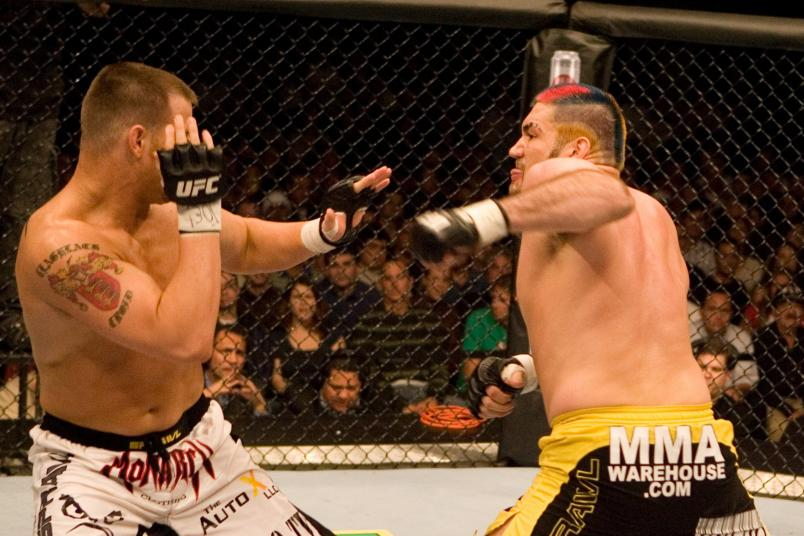 HOLLYWOOD, FL - JANUARY 25: Jake O'Brien (white shorts) def. Heath Herring (yellow/black shorts) - Unanimous Decision during UFC Fight Night 08 at the Hard Rock Live - Seminole Hard Rock Hotel & Casino on January 25, 2007 in Hollywood, Florida. (Photo by Josh Hedges/Zuffa LLC via Getty Images)