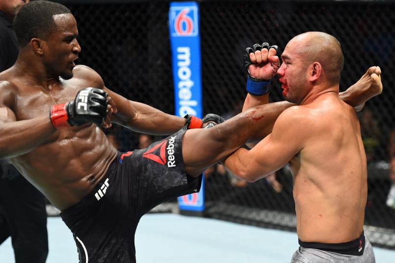 DALLAS, TX - SEPTEMBER 08: (L-R) Geoff Neal kicks Frank Camacho of Guam in their welterweight fight during the UFC 228 event at American Airlines Center on September 8, 2018 in Dallas, Texas. (Photo by Josh Hedges/Zuffa LLC/Zuffa LLC via Getty Images)