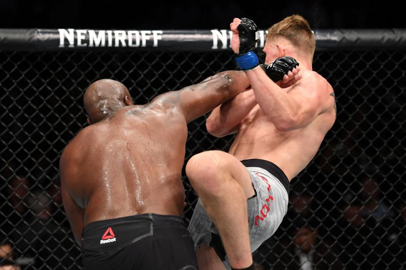 LAS VEGAS, NV - OCTOBER 06: Derrick Lewis punches Alexander Volkov of Russia in their heavyweight bout during the UFC 229 event inside T-Mobile Arena on October 6, 2018 in Las Vegas, Nevada. (Photo by Josh Hedges/Zuffa LLC/Zuffa LLC)