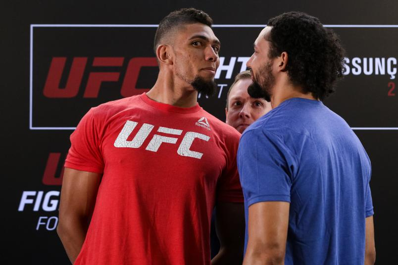 FORTALEZA, BRAZIL - JANUARY 31: (L-R) Opponents Johnny Walker of Brazil and Justin Ledet of the United States face off during the UFC Fight Night ultimate media day at Gran Marquise Hotel on January 31, 2019 in Fortaleza, Brazil. (Photo by Buda Mendes/Zuffa LLC/Zuffa LLC via Getty Images)