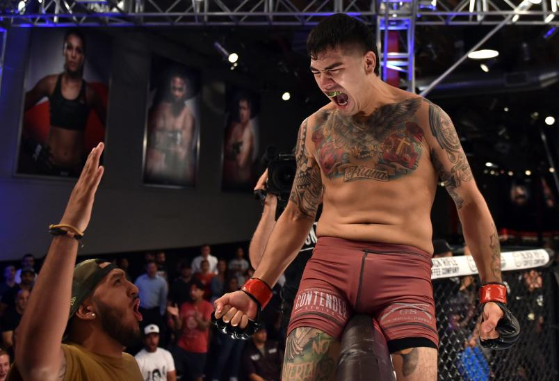 LAS VEGAS, NV - JUNE 19: Anthony Hernandez celebrates after his knockout victory over Jordan Wright in their middleweight bout during Dana White's Tuesday Night Contender Series at the TUF Gym on June 19, 2018 in Las Vegas, Nevada. (Photo by Elliott Howard/DWTNCS LLC)