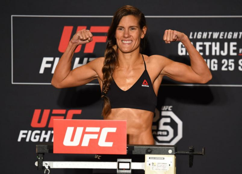 LINCOLN, NE - AUGUST 24: Cortney Casey poses on the scale during the UFC weigh-in on August 24, 2018 in Lincoln, Nebraska. (Photo by Josh Hedges/Zuffa LLC/Zuffa LLC via Getty Images)