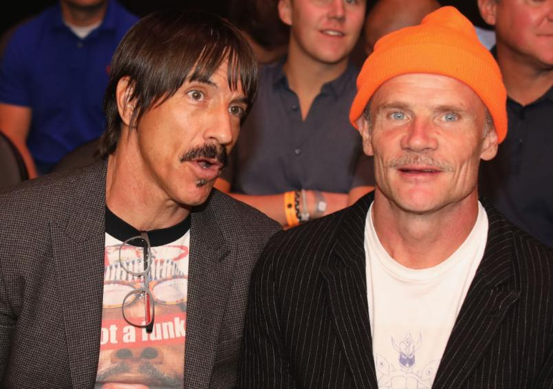 Musicians Anthony Kiedis (L) and Flea (R) of the Red Hot Chili Peppers attend the UFC 229 event inside T-Mobile Arena on October 6, 2018 in Las Vegas, Nevada. (Photo by Christian Petersen/Zuffa LLC/Zuffa LLC)
