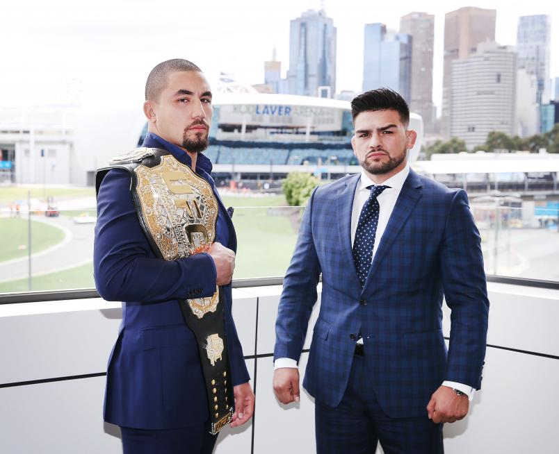 MELBOURNE, AUSTRALIA - DECEMBER 03: Robert Whittaker of Australia, UFC middleweight champion, poses with Kelvin Gastelum of the USA during a UFC press conference at Melbourne Arena on December 03, 2018 in Melbourne, Australia. (Photo by Michael Dodge/Zuffa LLC/Zuffa LLC)