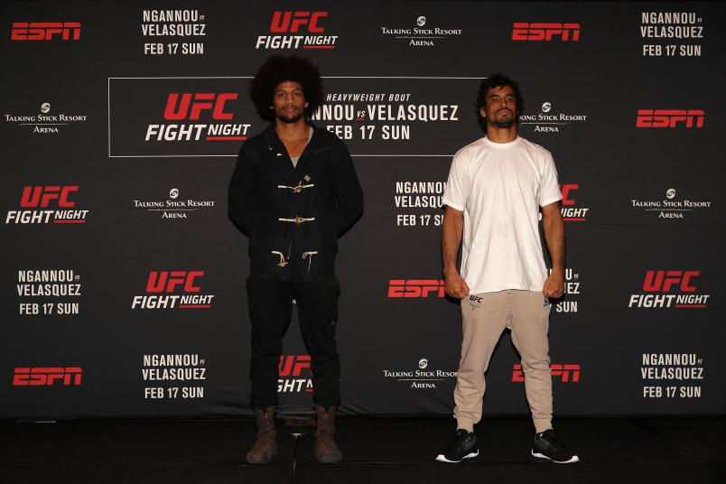 PHOENIX, ARIZONA - FEBRUARY 15: (L-R) Alex Caceres and Kron Gracie pose together during a press conference for UFC Fight Night Ngannou vs. Velasquez at the Sheraton Grand Phoenix on February 15, 2019 in Phoenix, Arizona. (Photo by Christian Petersen/Zuffa LLC/Zuffa LLC)