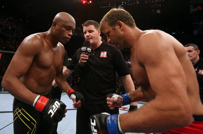RIO DE JANEIRO, BRAZIL - OCTOBER 13: (L-R) Opponents Anderson Silva and Stephan Bonnar touch gloves before their light heavyweight fight at UFC 153 inside HSBC Arena on October 13, 2012 in Rio de Janeiro, Brazil. (Photo by Josh Hedges/Zuffa LLC/Zuffa LLC via Getty Images)