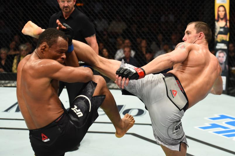 AUSTIN, TX - FEBRUARY 18: James Vick (R) lands a head kick against Francisco Trinaldo of Brazil in their lightweight bout during the UFC Fight Night event at Frank Erwin Center on February 18, 2018 in Austin, Texas. (Photo by Josh Hedges/Zuffa LLC/Zuffa LLC via Getty Images)