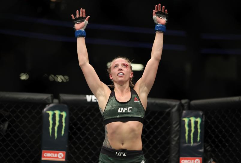LAS VEGAS, NV - JULY 07: Emily Whitmire raises her arms in victory after her women's strawweight fight during the UFC 226 event inside T-Mobile Arena on July 7, 2018 in Las Vegas, Nevada. (Photo by Christian Petersen/Zuffa LLC/Zuffa LLC via Getty Images)