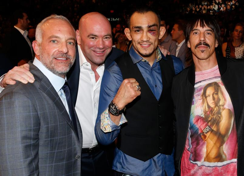 Lorenzo Fertitta, Dana White, Tony Ferguson, Anthony Kiedis at UFC 194 (Photo by Christian Petersen/Zuffa LLC)