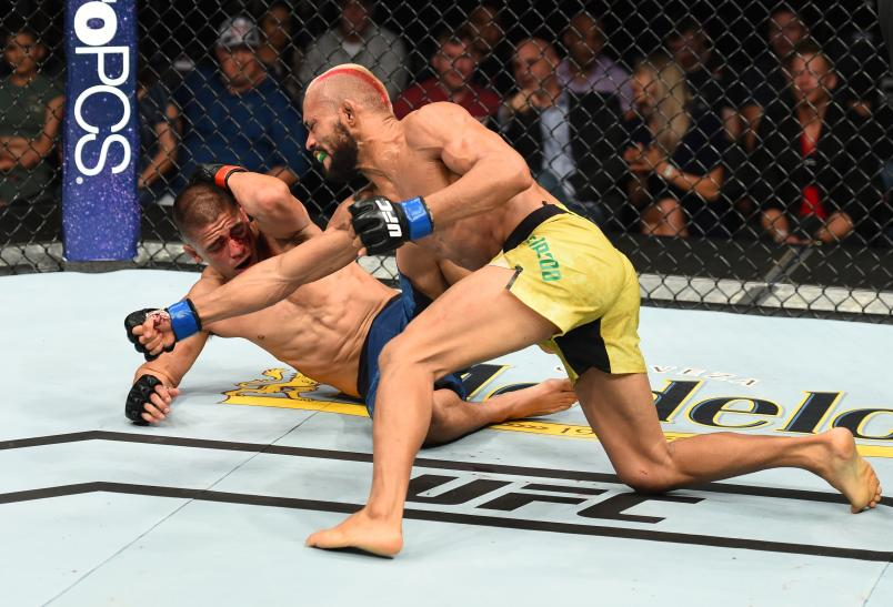 LINCOLN, NE - AUGUST 25: (R-L) Deiveson Figueiredo of Brazil punches John Moraga in their flyweight fight during the UFC Fight Night event at Pinnacle Bank Arena on August 25, 2018 in Lincoln, Nebraska. (Photo by Josh Hedges/Zuffa LLC/Zuffa LLC via Getty Images)