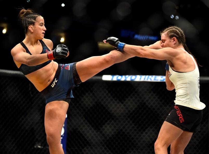 DENVER, CO - NOVEMBER 10: (L-R) Maycee Barber kicks Hannah Cifers in their women's strawweight bout during the UFC Fight Night event inside Pepsi Center on November 10, 2018 in Denver, Colorado. (Photo by Chris Unger/Zuffa LLC/Zuffa LLC via Getty Images)