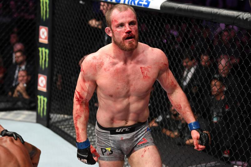 Gunnar Nelson of Iceland celebrates his victory over Alex Oliveira of Brazil in their welterweight fight during the UFC 231 event at Scotiabank Arena on December 8, 2018 in Toronto, Canada. (Photo by Josh Hedges/Zuffa LLC/Zuffa LLC via Getty Images)