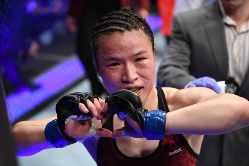 LAS VEGAS, NV - MARCH 02: Weili Zhang of China reacts to her win against Tecia Torres in their women's strawweight bout during the UFC 235 event at T-Mobile Arena on March 2, 2019 in Las Vegas, Nevada. (Photo by Jeff Bottari/Zuffa LLC/Zuffa LLC)