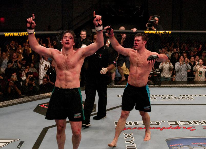 LAS VEGAS, NV - APRIL 09: (L-R) Stephan Bonnar and Forrest Griffin react after their historic three-round battle during the Light Heavyweight Final bout during the live Ultimate Fighter Season Finale at the Cox Pavilion on April 9, 2005 in Las Vegas, Nevada. (Photo by Josh Hedges/Zuffa LLC/Zuffa LLC via Getty Images)
