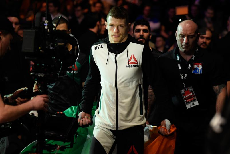 LONDON, ENGLAND - MARCH 18: Joe Duffy of Ireland prepares to enter the Octagon before facing Reza Madadi of Iran in their lightweight fight during the UFC Fight Night event at The O2 arena on March 18, 2017 in London, England. (Photo by Josh Hedges/Zuffa LLC/Zuffa LLC via Getty Images)