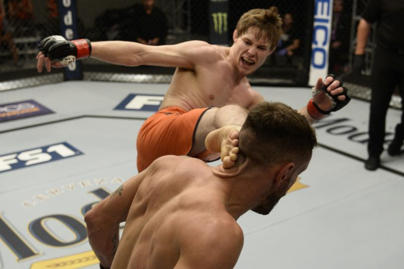 Bryce Mitchell (L) kicks Jay Cucciniello during the filming of The Ultimate Fighter: Undefeated on February 14, 2017 in Las Vegas, Nevada. (Photo by Brandon Magnus/Zuffa LLC)