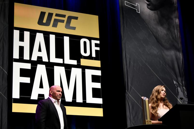 LAS VEGAS, NV - JULY 05: Ronda Rousey speaks after her induction into the UFC Hall of Fame during the UFC Hall of Fame Class of 2018 Induction Ceremony inside The Pearl concert theater at Palms Casino Resort on July 5, 2018 in Las Vegas, Nevada. (Photo by Brandon Magnus/Zuffa LLC/Zuffa LLC via Getty Images)
